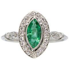 Estate Platinum Emerald and Diamond Ring