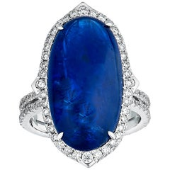 13.91 Carat Unheated Blue Cabochon Burmese Sapphire Ring with Diamond Accents