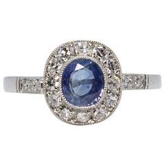 Estate Platinum 1 Carat Ceylon Sapphire and Diamond Ring