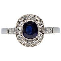 Estate Platinum 1 Carat, Sapphire and Diamond Ring