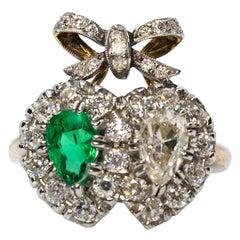 Estate 18 Karat Gold Diamond and Emerald Ring