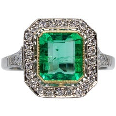 Contemporary Handmade Platinum 1.65 Carat Emerald and Diamond Ring