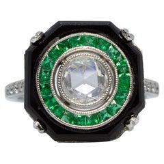 Platinum Diamond, Onyx and Emerald Ring
