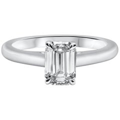 GIA Certified 1.21 Carat Emerald Cut Diamond Solitaire Engagement Ring