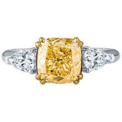 2.23 Carat Natural Fancy Light Yellow Cushion Diamond Ring with GIA Report