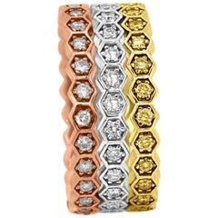 Natural Pink, Yellow, White Diamond Round Three-Color Gold Three Stackable Bands