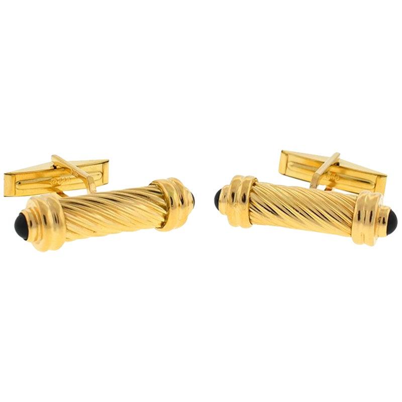14 Karat Yellow Gold Onyx Cabochon Men's Cufflinks