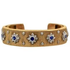 Buccellati Diamond Sapphire Bangle Bracelet