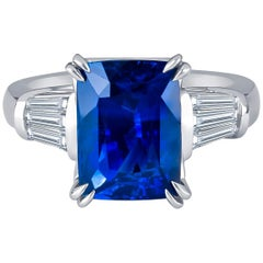 5.96 Carat Natural Ceylon Blue Sapphire Cushion Cut Ring with Baguette Diamonds
