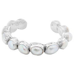 Sterling Silver and Baroque Pearl Cuff