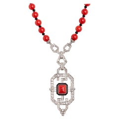 Platinum Diamond Coral and Onyx Necklace