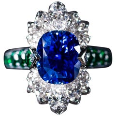 Sapphire, Diamond and Emerald, Set in a Platinum Handcrafted Ring