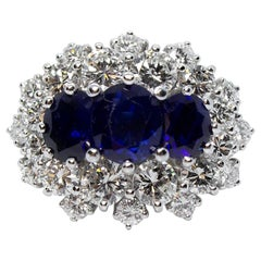 Platinum Contemporary Handmade Diamond and Sapphire Ring