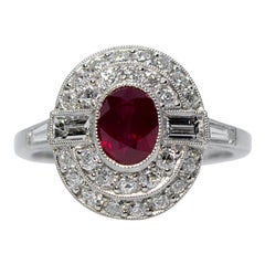 Estate Platinum 1.20 Carat Ruby and Diamond Ring