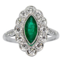 Contemporary Handmade Platinum Emerald and Diamond Ring