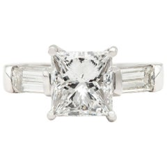 3.02 Carat Diamond and Platinum Engagement Ring