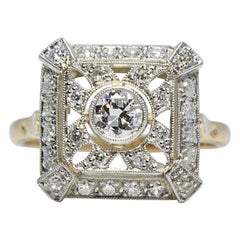 Contemporary Handmade 18 Karat Gold and Platinum Diamond Ring