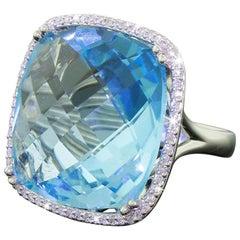 14 Karat Gold Diamond 30 Carat Blue Topaz Halo Checkerboard Cut Cocktail Ring