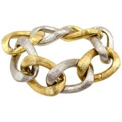 Abel & Zimmerman 18 Karat Bicolor Gold Curb Link Bracelet