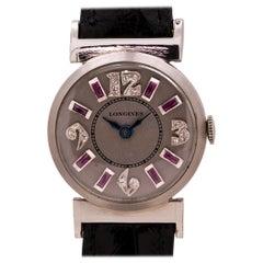 Longines Platinum Diamond and Ruby Set Ladies Watch, circa 1950s