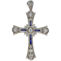Antique Edwardian 18 Karat Gold Diamond Cross