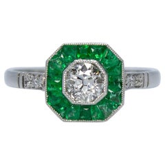 Contemporary Handmade Platinum Diamond and Emerald Ring