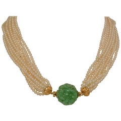 18 Karat Yellow Gold 11 Strand Akoya Pearl Carved Jadeite Necklace