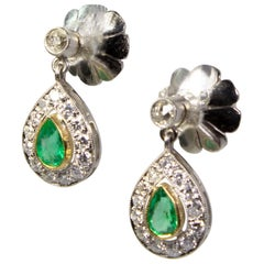 Estate Platinum Emeralds and Diamond Earrings