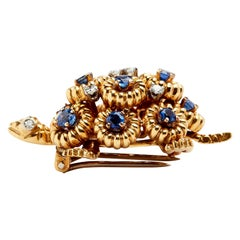 Sapphire and Diamond 18 Karat Turtle Brooch