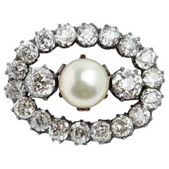 Antique Oval Diamond and Pearl Brooch