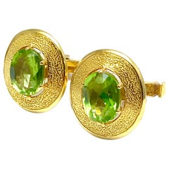 3.68 Carat Oval Peridot and 18 Karat Yellow Gold Cufflinks