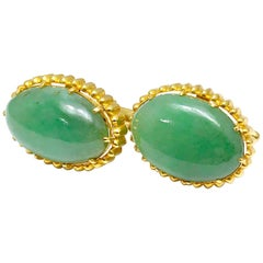 Oval Cabochon Jade and 18 Karat Yellow Gold Cufflink Set