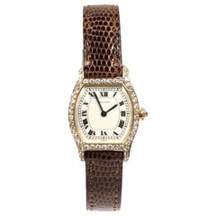 Cartier Paris Tortue Yellow Gold and Diamond Ladies Manual Wind Wristwatch