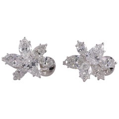 Mednikow 10.13 Carat Natural Diamond Pear and Marquise Platinum Earrings