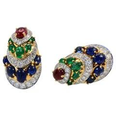 David Webb Cabochon Sapphire, Emerald, Ruby, Diamond Earrings