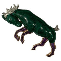Hand Carved Malachite Amethyst and Diamond Horse Brooch