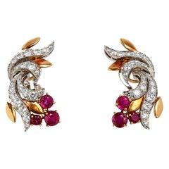 18 Karat 2-Tone Retro Ruby and Diamond Ear Clips