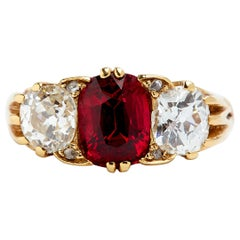 English Spinel and Diamond Ring