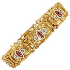 French Ruby, Diamond and Enamel Bracelet
