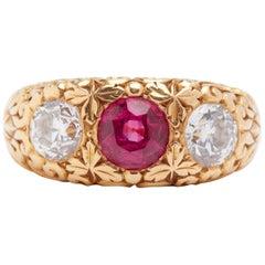 Arts & Crafts 18 Karat Ruby and Diamond Ring, circa 1910