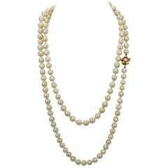 Freshwater Pearl Long Necklace with Flower Clasp 14 Karat