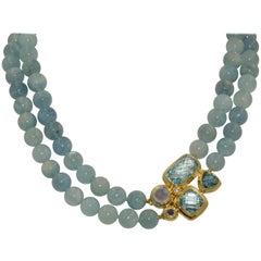 David Yurman 18 Karat Sterling Silver Two Strand Blue Topaz Multi Stone Clasp