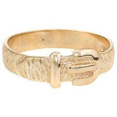 Vintage Buckle Ring 9 Karat Gold Belt Stacking Ring circa 1979 English Jewelry