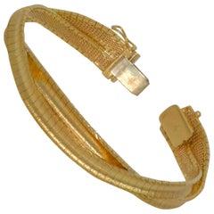 18K Italian Yellow Gold Convexed Woven Omega Bracelet