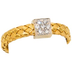 Roberto Coin 18 Karat Italian Yellow & White Gold Diamond Pave Braid Ring