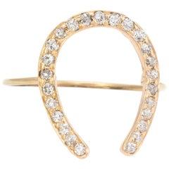 Antique Victorian Horseshoe Conversion Ring Diamond 10 Karat Gold Fine Jewelry