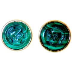 Michael Kneebone Malachite Gladiator Cameo 18 Karat Gold Cufflinks