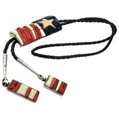 Rare Charles Loloma Flag American Indian Hopi Art Jewelry Bolo Tie
