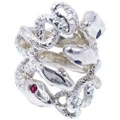 White Diamond Rubies Tanzanite Cocktail Ring Four Head Snake Silver J Dauphin