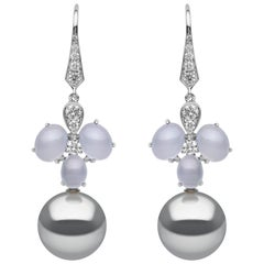 Yoko London Tahitian Pearl, Diamond and Chalcedony Earrings in 18 Karat Gold